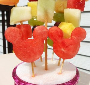 Minnie Mouse Kebab Fruit Ideas - Watermelon Skewers with Grapes, Pineapple, and Cantaloupe