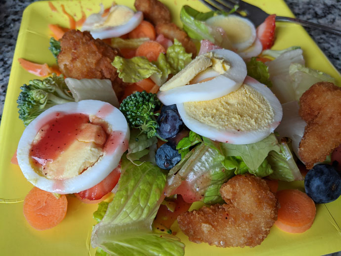 Breaded Shrimp Salad with Hard-Boiled Eggs