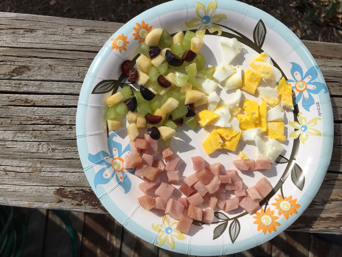 At Home Salad Bar - Fruit Salad, Egg, Ham Cubes
