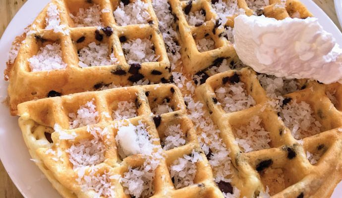 Chocolate Chip Belgian Waffle with Coconut Topping