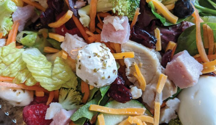 Delicious Fresh Salad Entree with Ham Cubes, Grilled Chicken, Fresh Mozzarella, Hard-Boiled Eggs, Raw Broccoli, Raspberries, and More!