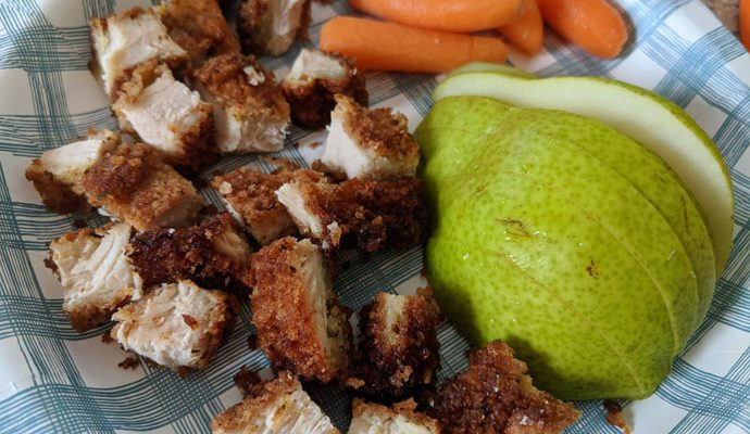 Fried Chicken Cutlet - AKA Mommy's Crispy Chicken - with Sliced Pear and Baby Carrots