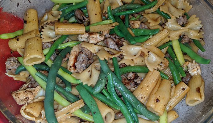 Delicious Chicken Sausage Pasta with Fresh Green Beans - the secret is deglazing all those delicious sausage brown bits stuck to the pan! (I used Marsala wine.)
