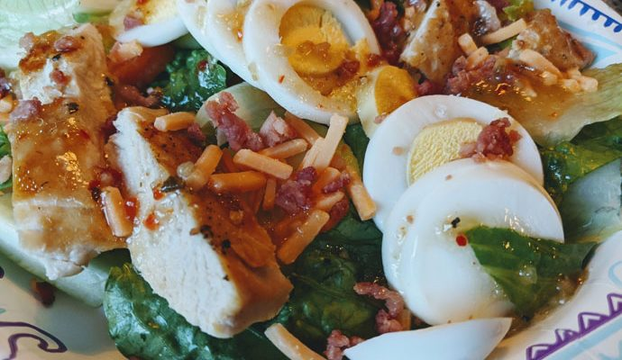 Entree Salad with Grilled Chicken and Hard-boiled Eggs
