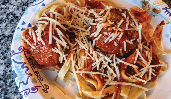 Homemade Meatballs with Fettuccini and Sauce, Topped with Parmesan Cheese