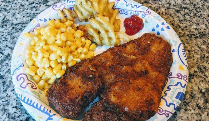 Crispy Fried Flounder with Waffle Fries and Corn