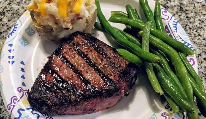 Grilled Steak with Fresh Green Beans and a Twice-Baked Potato