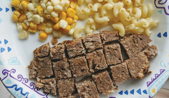 Homemade Meatloaf with Noodles and Corn