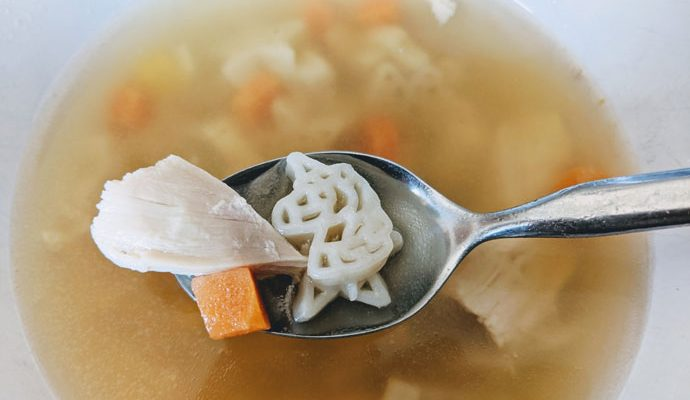 Homemade Unicorn Chicken Noodle Soup! Huge hit - we just swiped the noodles from Kraft Mac & Cheese!