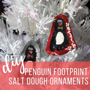 Adorable Penguin Footprint Salt Dough Ornaments