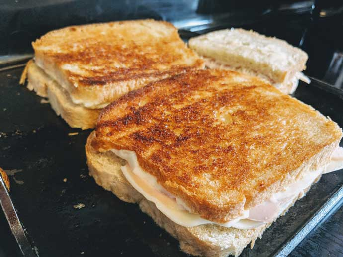 Fancy Homemade Grilled Cheese Featuring Sliced Ham or Turkey