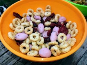 Cheerios Trail Mix in Orange Bowl Featuring Cheerios, Yogurt Raisins and Craisins