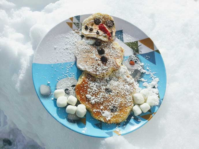 Snowman Pancakes, Easy, Fun and Delicious for Christmas and Winter Breakfast or Brunch